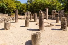 Remains of baptistery of Buthrotum, Butrint, Albania stock images