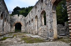 Butrint is the Albania`s major archaeological centers. And is protected under UNESCO as a World Heritage Site. The ancient town has been built on Ksamil royalty free stock photo