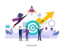 Buts d'affaires Succès dans les affaires, exécution des projets de démarrage illustration libre de droits