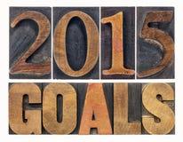 2015 buts dans le type en bois d'impression typographique Photos libres de droits