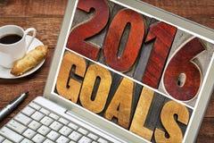2016 buts dans le type en bois d'impression typographique Photos stock