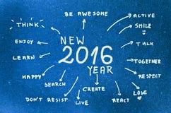 Buts de la nouvelle année 2016 écrits sur le carton bleu Image stock