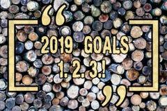 Buts 1 des textes 2019 d'écriture de Word 2 3 Le concept d'affaires pour la résolution organisent le fond en bois de plans futurs photos libres de droits