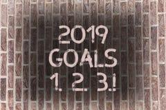 Buts 1 des textes 2019 d'écriture de Word 2 3 Le concept d'affaires pour la résolution organisent l'art de mur de briques de plan images stock