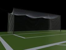 buts du terrain de football 3d et du football Photographie stock libre de droits