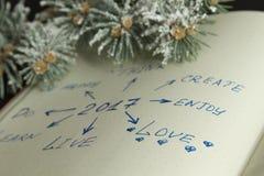 Buts pour 2017 écrit dans l'organazer avec l'accent sur l'amour Photographie stock