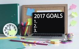 Buts pour le concept de liste de la nouvelle année 2017 Photographie stock libre de droits
