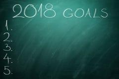 2018 buts sur le conseil vert tableau Photo stock