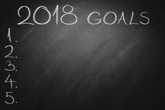 2018 buts sur le conseil vert tableau Images libres de droits