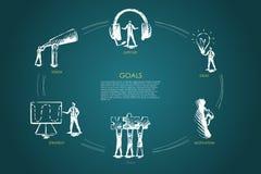Buts - vision, appui, équipe, stratégie, concept réglé de motivation illustration de vecteur