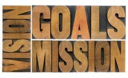 Buts, vision et mission Photos stock