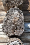 Butt-end of old wooden cabin Stock Images