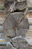 Butt-end of old wooden house Stock Photos