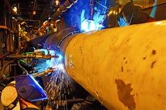Butt welding underwater pipeline using automatic equipment Stock Image