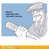 Buttafuori con una mazza da baseball Carta editabile di vettore nello stile della carta bianca Immagini Stock