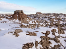 Butte in the Badlands in Winter Royalty Free Stock Photography