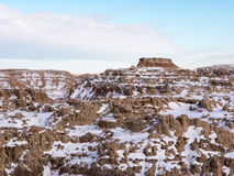 Butte in the Badlands in Winter Royalty Free Stock Photos