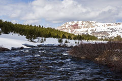Snowcapped Beartooth Butte and river Stock Image