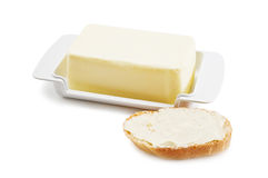 Butter. And loaf isolated on white Royalty Free Stock Photo