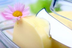 Butter. And  knife with pink flower Stock Photos