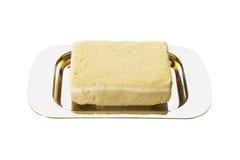 Butter - 2. Butter on a metallic butter dish Stock Photos