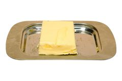 Butter. On a metallic  dish Stock Images