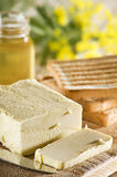 Butter. Fresh butter slice vith toast bread close up shoot Stock Photography