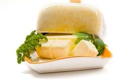 Butter auf Platte Lizenzfreies Stockbild