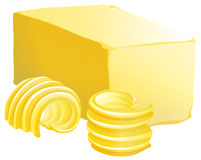 Butter. Bar of butter with two slices on the side Royalty Free Stock Photos