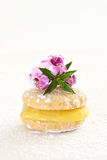 Butter biscuit with lemon curd Stock Photo