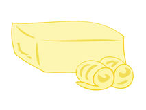 Butter block with curls. Illustration of a butter block with curls Stock Images