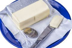 Butter on the blue plate with euro coins money on white Stock Photography