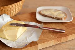 Butter on bread for breakfast. A Butter on bread for breakfast Royalty Free Stock Photography