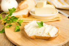 Butter and bread Royalty Free Stock Images