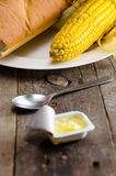 Butter with bread and corn. Recent shot of Butter with bread and corn royalty free stock photography