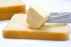 Butter, bread and knife Royalty Free Stock Photos