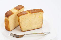 Butter Cake. The Delicious Butter Cake on White Background stock image