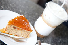 Butter cake and capuchino ice coffee Royalty Free Stock Images