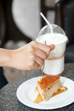 Butter cake and capuchino ice coffee Royalty Free Stock Photo