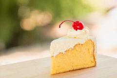 Butter cake. With Cherry Red stock photography