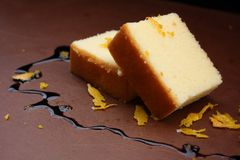 Butter cake chocolate sauce Stock Photo