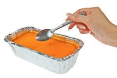 Butter cake topping with jelly orange Stock Images