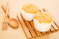 Butter cake on wooden board Royalty Free Stock Photography