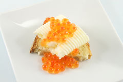 Butter and caviar sandwich Royalty Free Stock Image