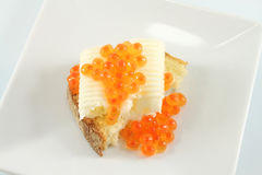 Butter and caviar sandwich Royalty Free Stock Photo