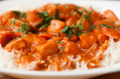 Butter chicken. Indian butter chicken sauce with rice and sliced carrots Stock Images