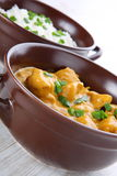 Butter chicken curry with basmati rice. Royalty Free Stock Images
