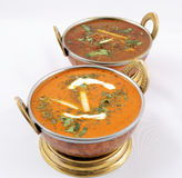 Butter chicken and goat meat curry Stock Photo