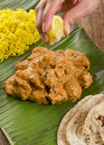 Butter Chicken & Lemon Rice Royalty Free Stock Photo