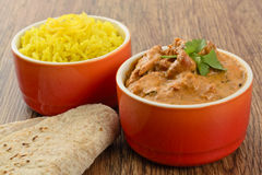 Butter Chicken & Lemon Rice Royalty Free Stock Photos